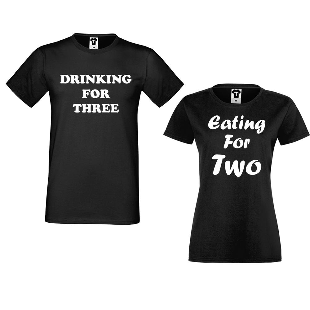 Комплект тениски за двойки в черно Drinking for three and Eating for two