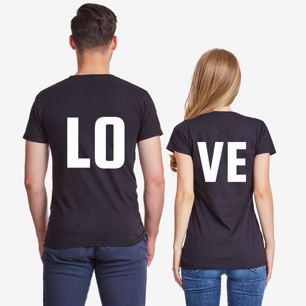 Комплект тениски за двойки в черно LOVE