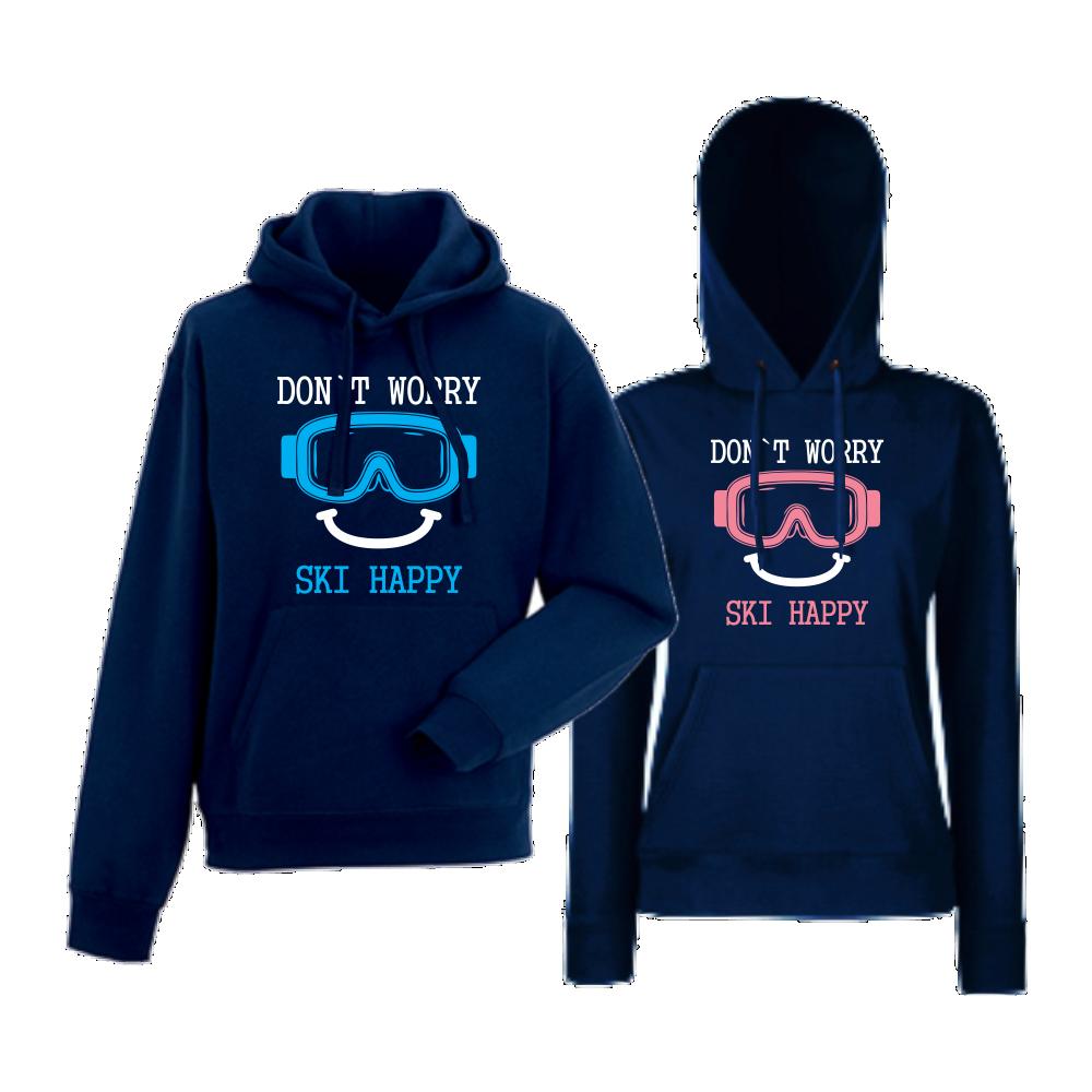 Комплект тъмно-сини суитчери за двойки Don't worry ski happy