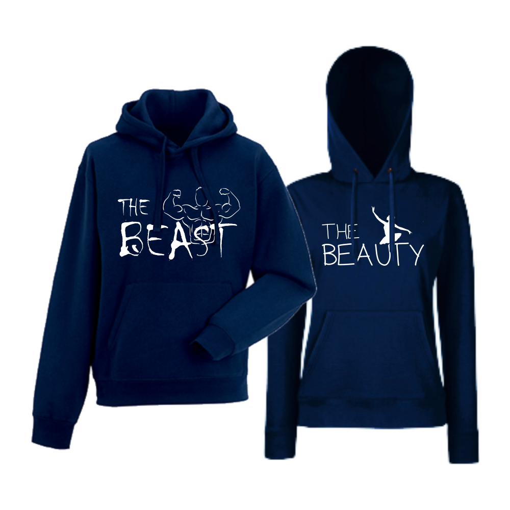 Комплект тъмно-сини суитчери за двойки The Beast and The Beauty