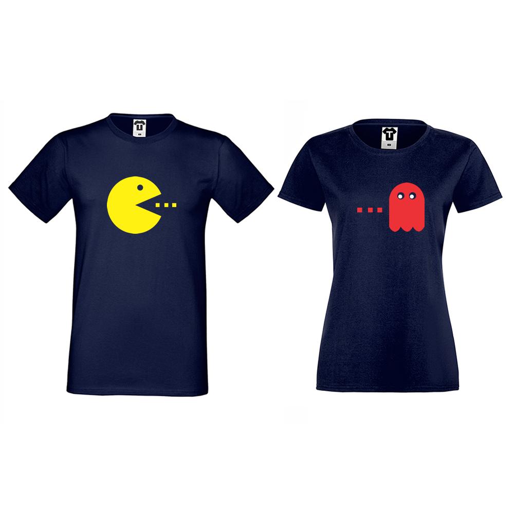 Комплект тъмно-сини тениски за двойки PAC-MAN