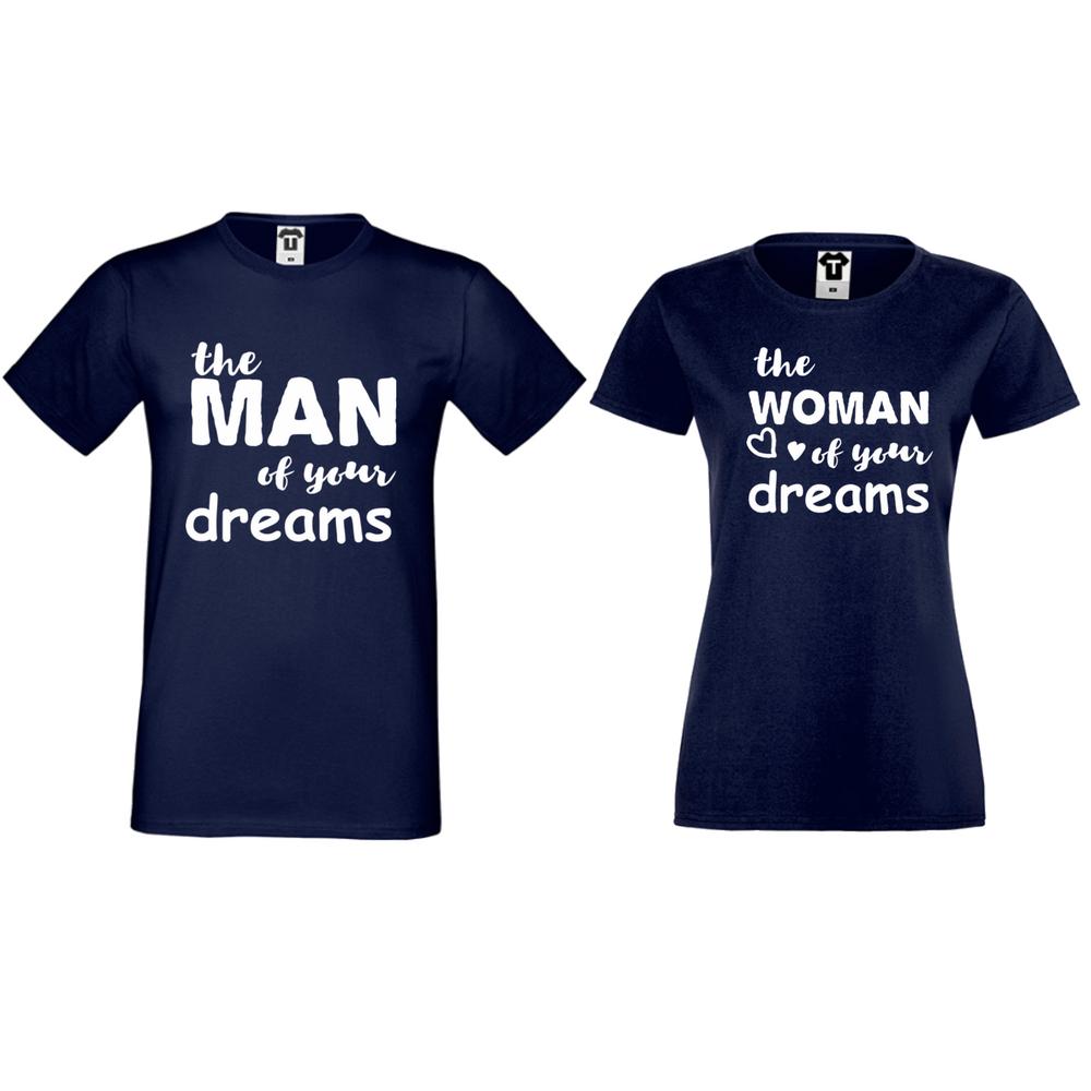 Комплект тъмно-сини тениски за двойки The man/The woman of your dreams