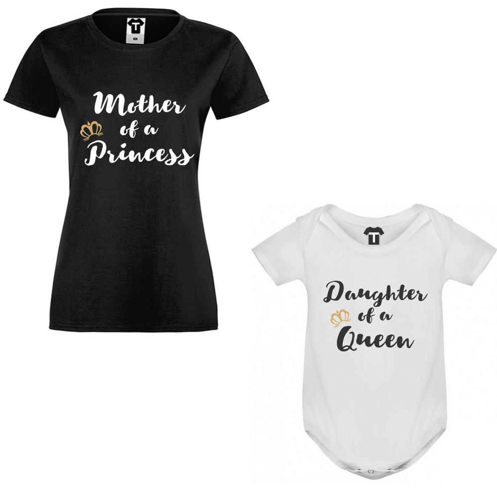 Комплект за майка и бебе Mother of a princess/Daughter of a queen