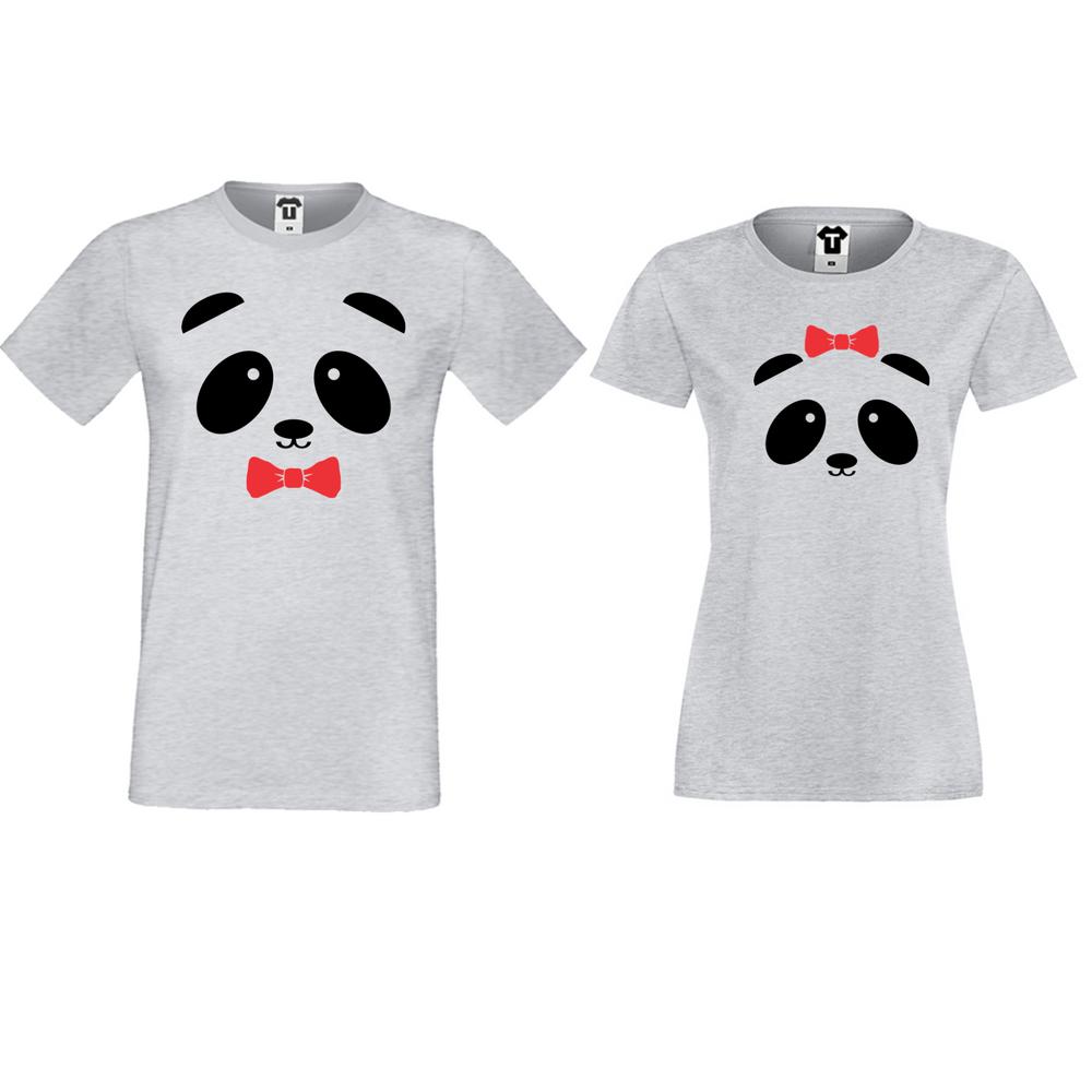 Сиви тениски за влюбени Sweet Panda