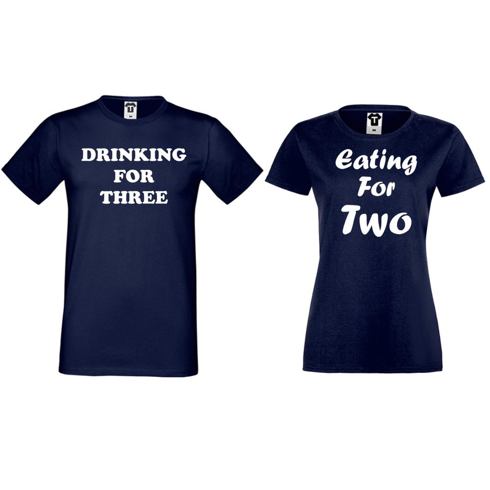 Тениски за двойки в тъмно синьо Drinking for three and Eating for two