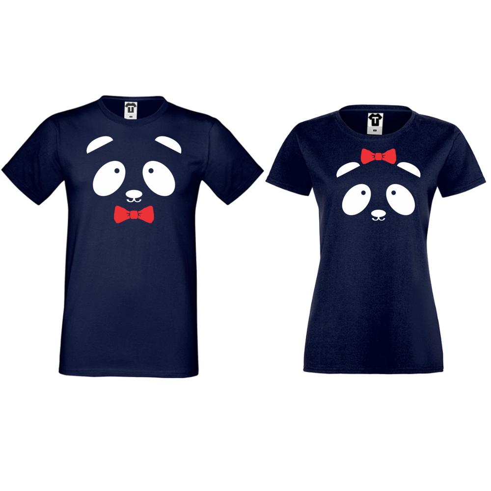 Тениски за двойки в тъмно синьо Sweet Panda