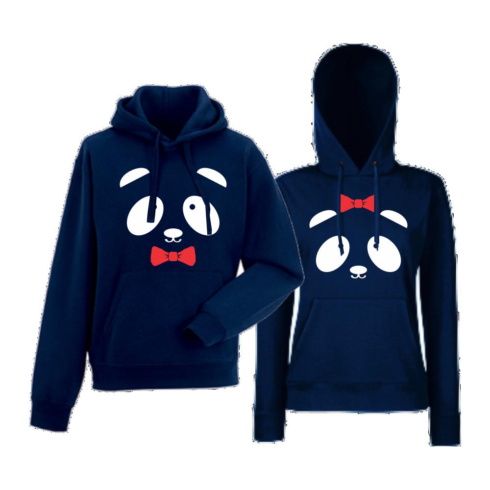 Тъмно-сини суитчери за двойки Sweet Panda