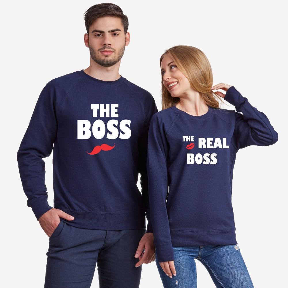 Комплект тъмно-сини блузи за двойки The Real Boss Kiss