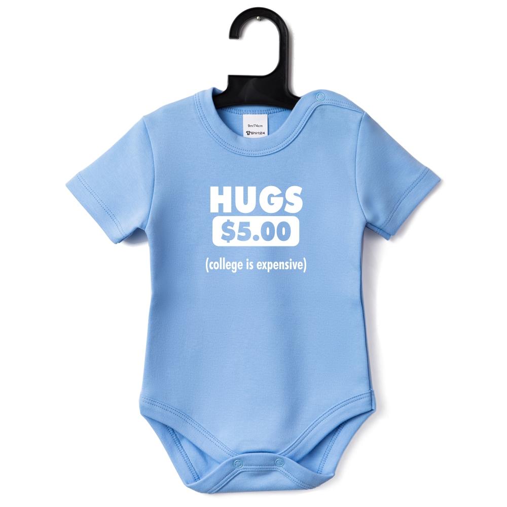 Светло-синьо бебешко боди Hugs