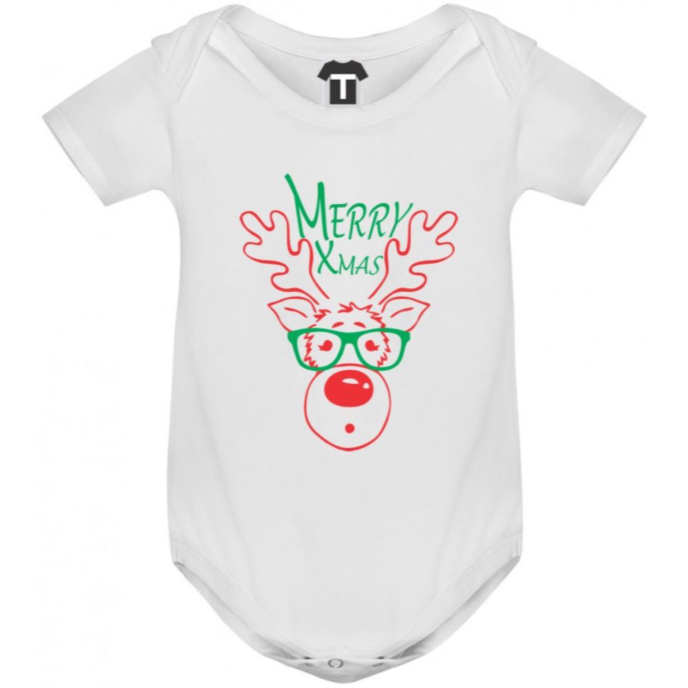 Бебешко боди в различни цветове Merry Christmas