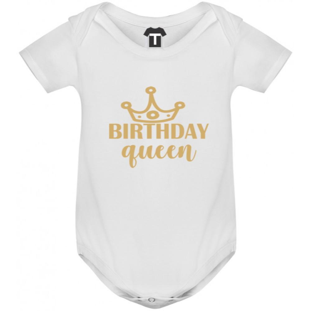 Бяло бебешко боди Birthday Queen
