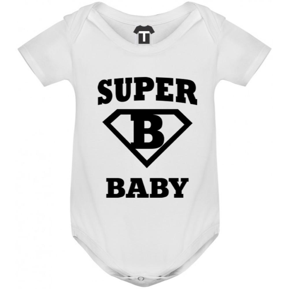 Бяло бебешко боди Super baby