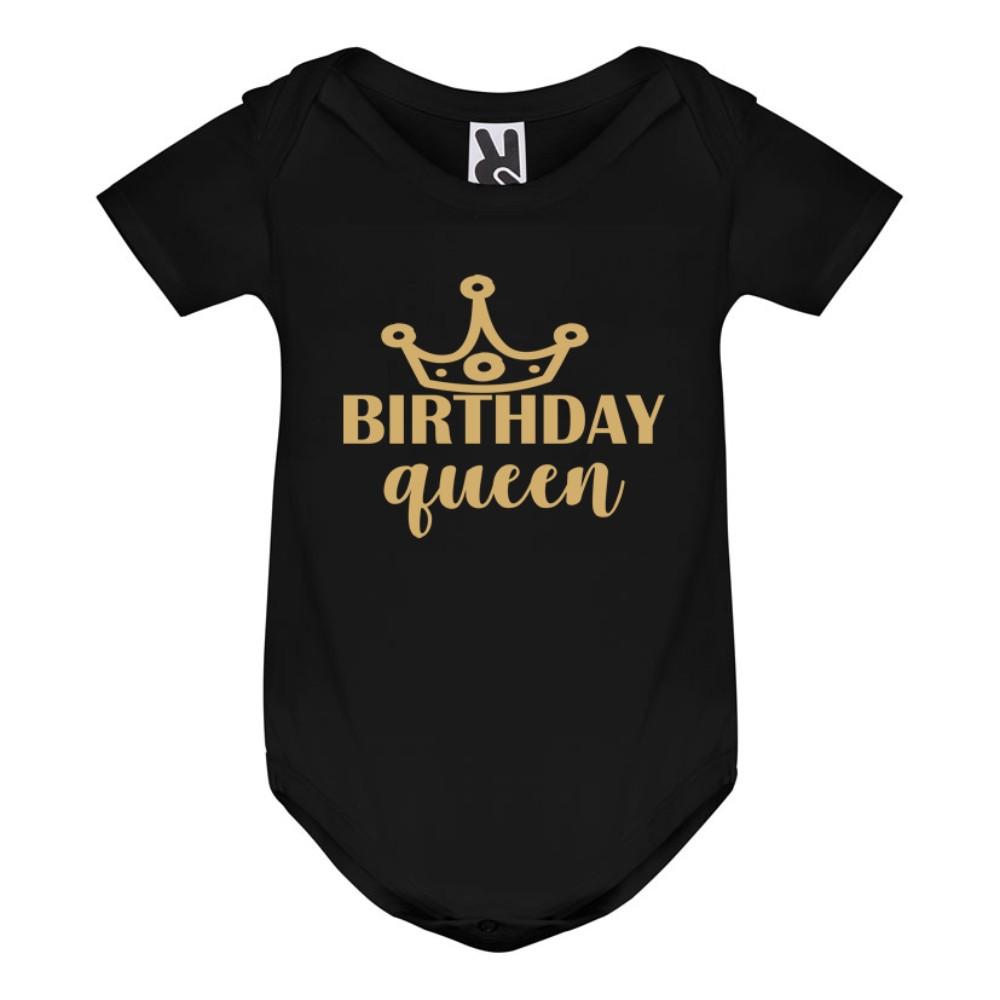 Черно бебешко боди Birthday Queen