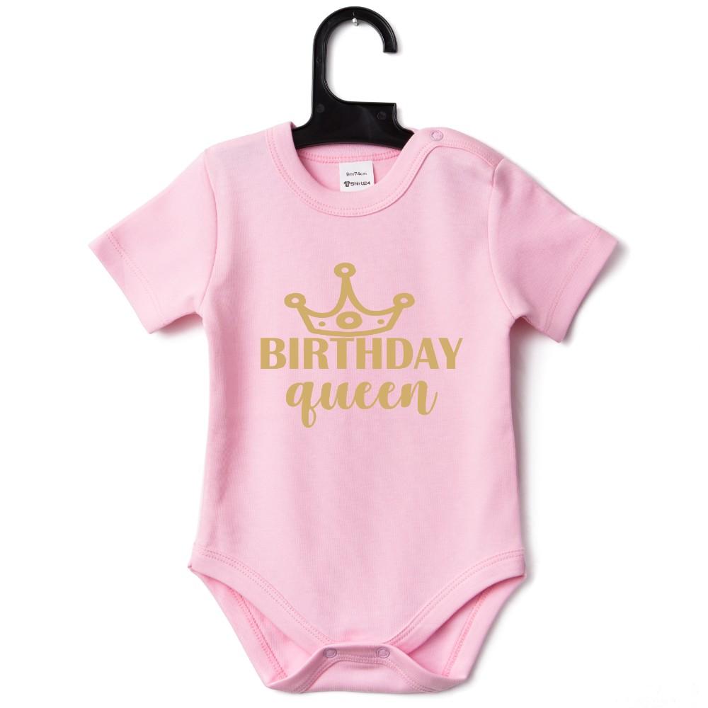 Розово бебешко боди Birthday Queen