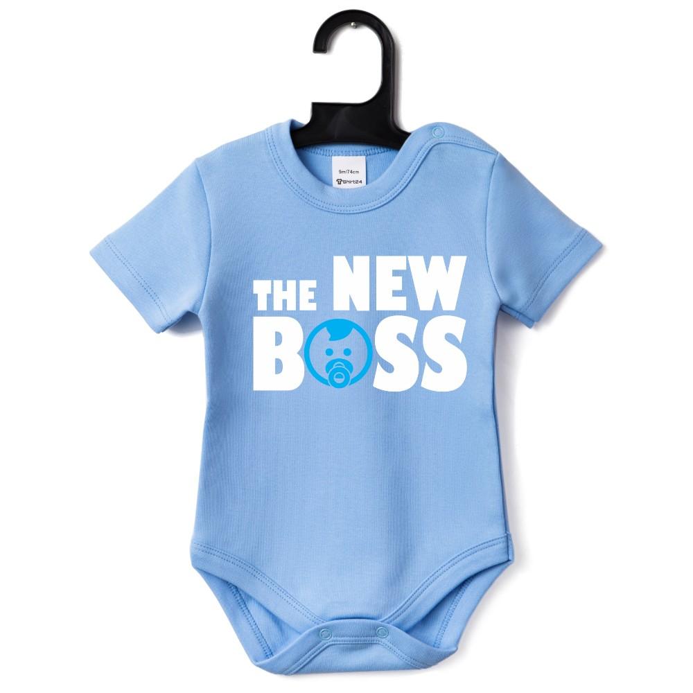 Синьо бебешко боди The New Boss