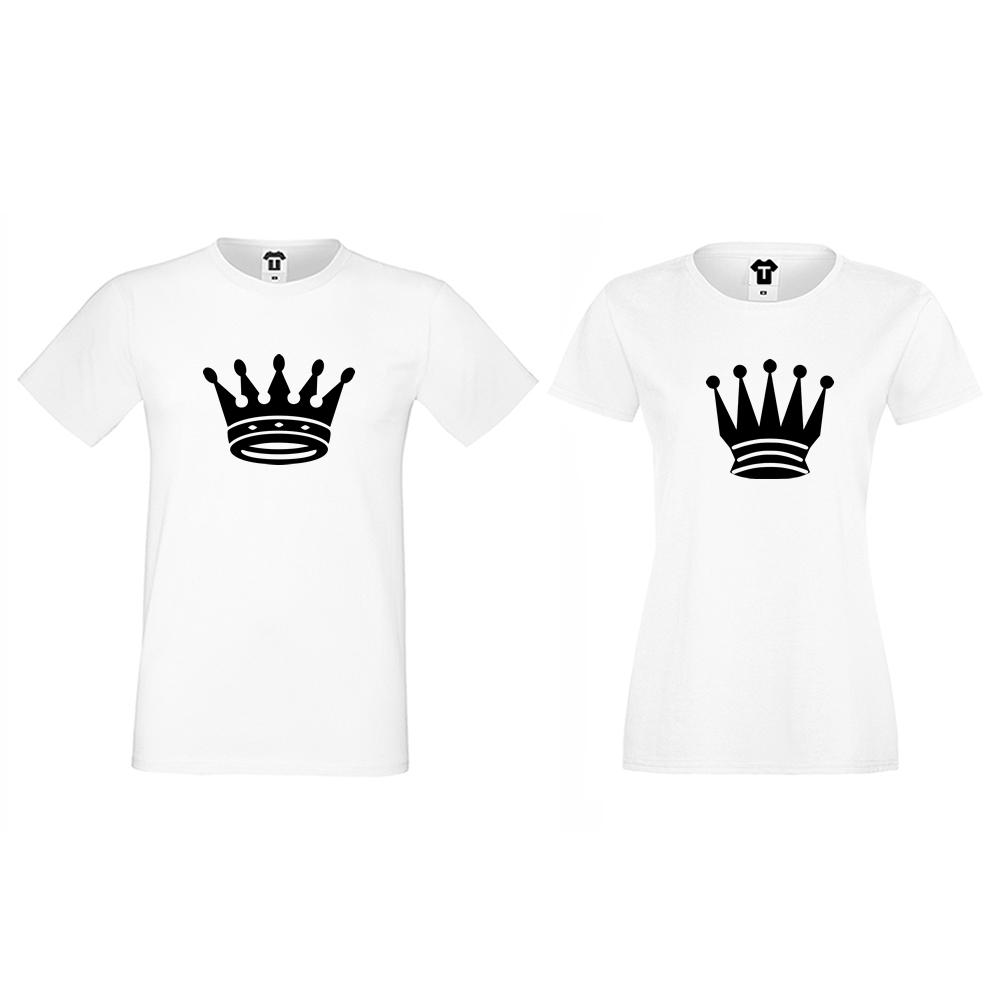 Бели тениски за двойки Big Crowns