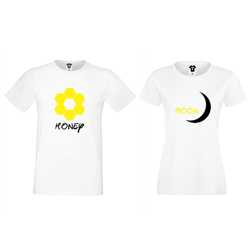 Бели тениски за двойки Honeymoon