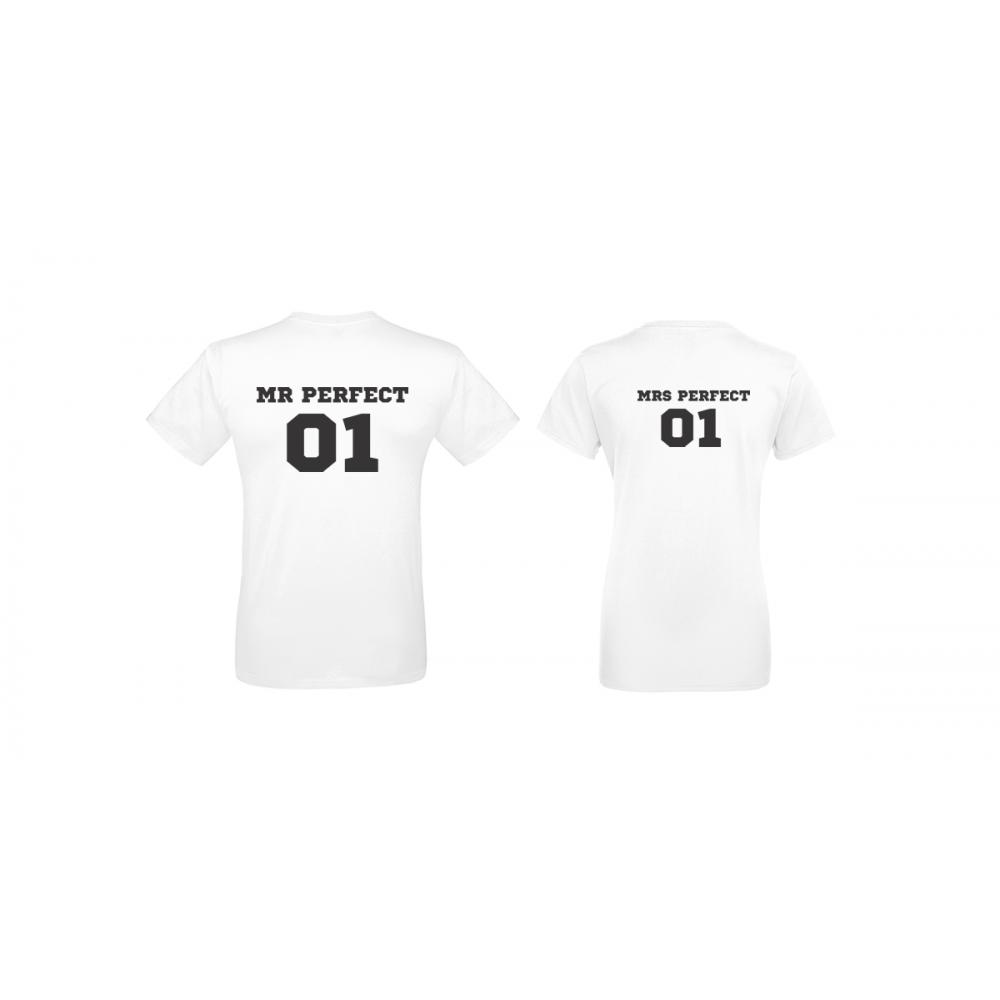 Бели тениски за двойки Mr Mrs Perfect