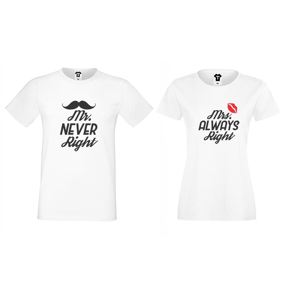 Бели тениски за двойки Mr Never Right and Mrs Always Right