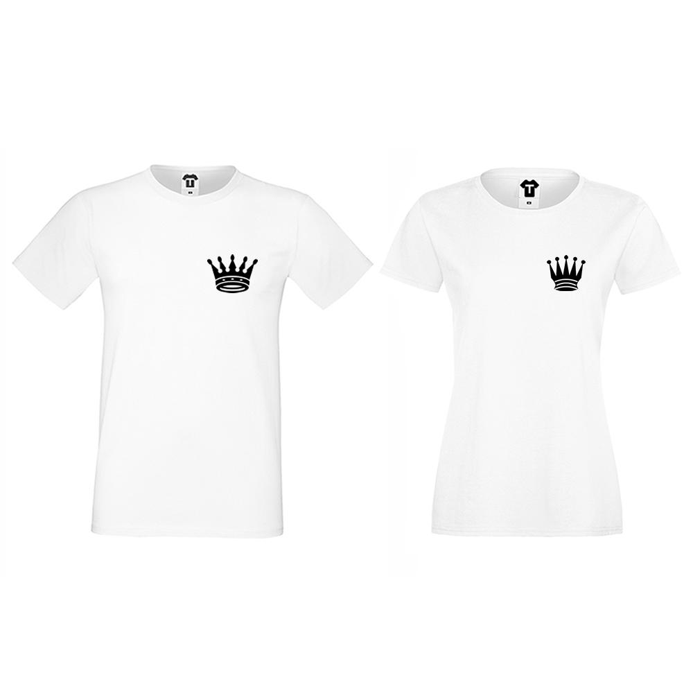 Бели тениски за двойки Pocket Crowns