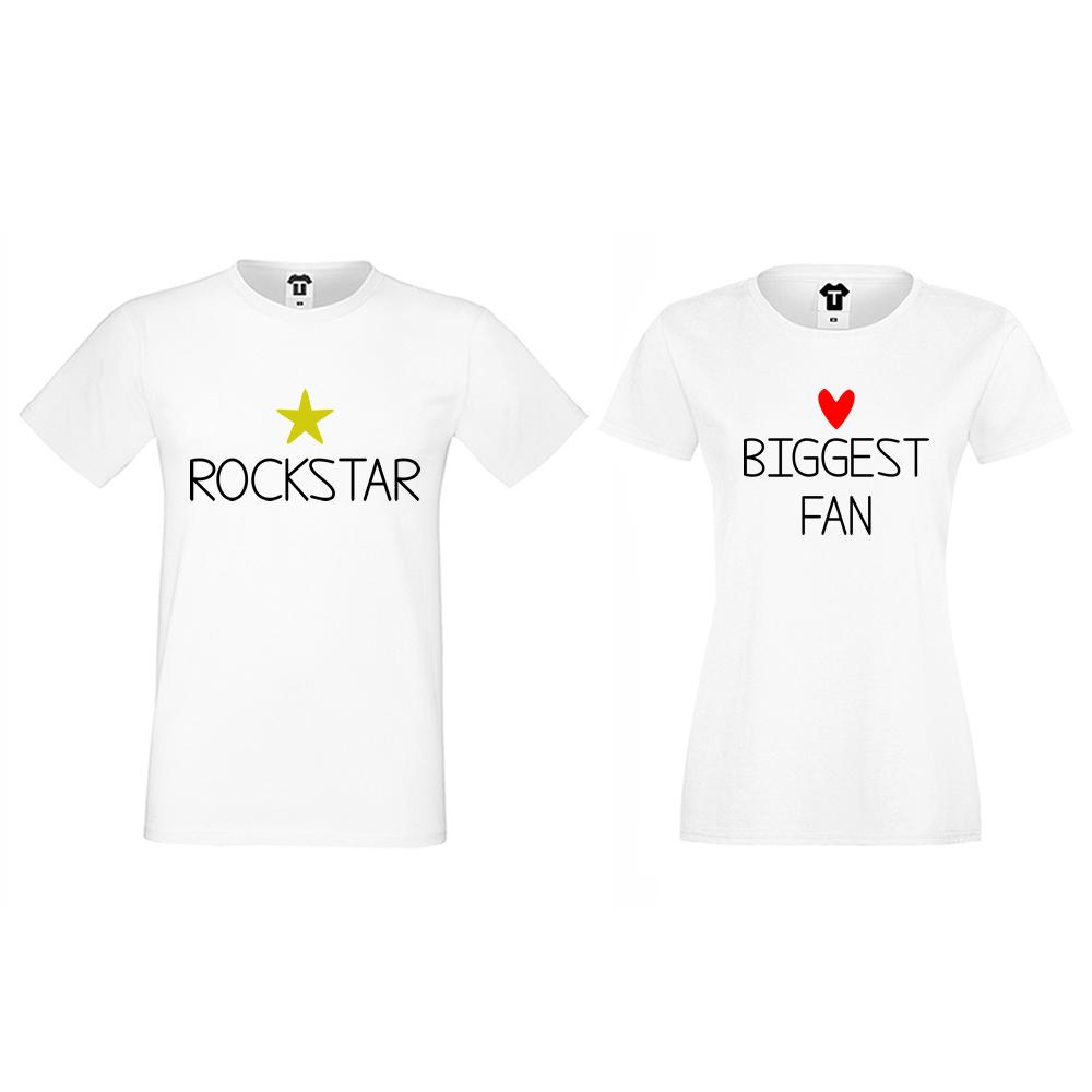 Бели тениски за двойки Rockstar and Fan