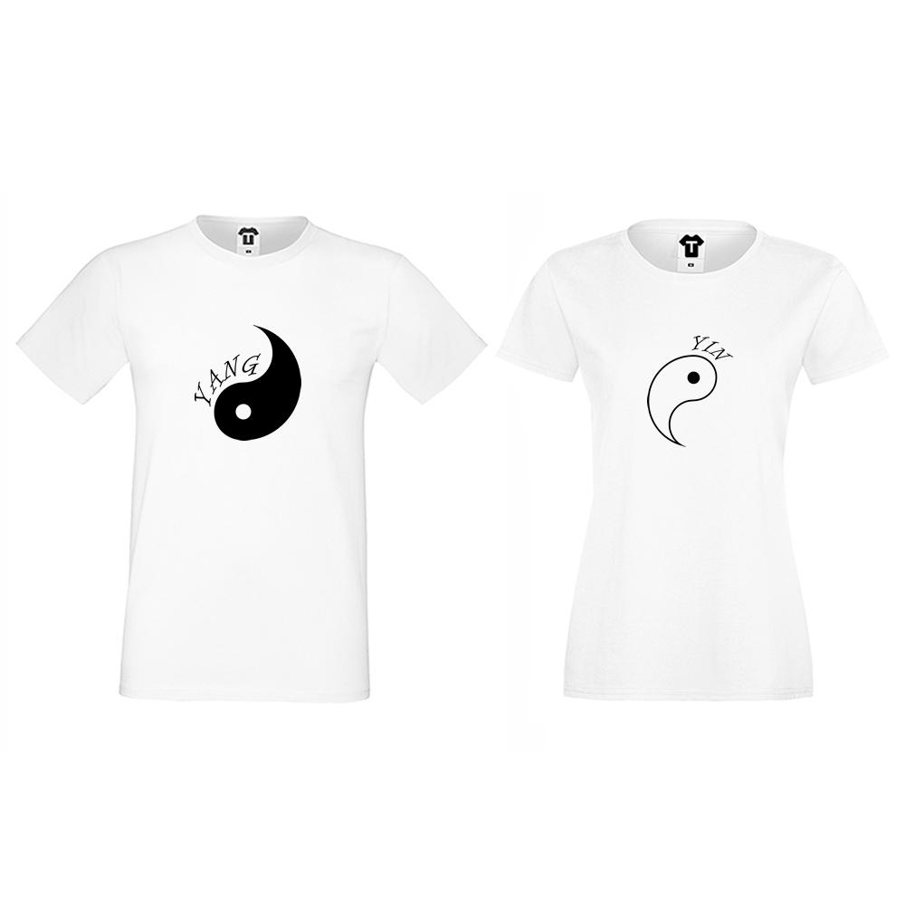 Бели тениски за двойки Yin Yang