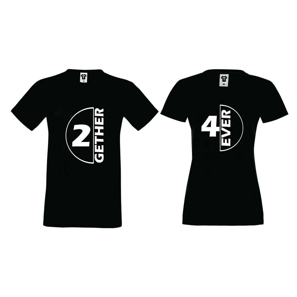 Черни тениски за влюбени TOGETHER FOREVER
