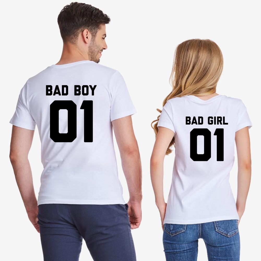 Комплект бели тениски за двойки Bad Boy and Bad Girl