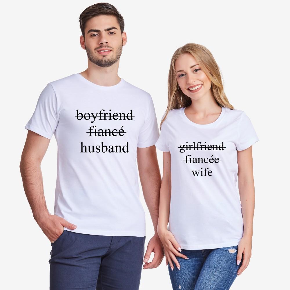 Комплект бели тениски за двойки Boyfriend/Fiancé/Husband and Girlfriend/Fiancée/Wife