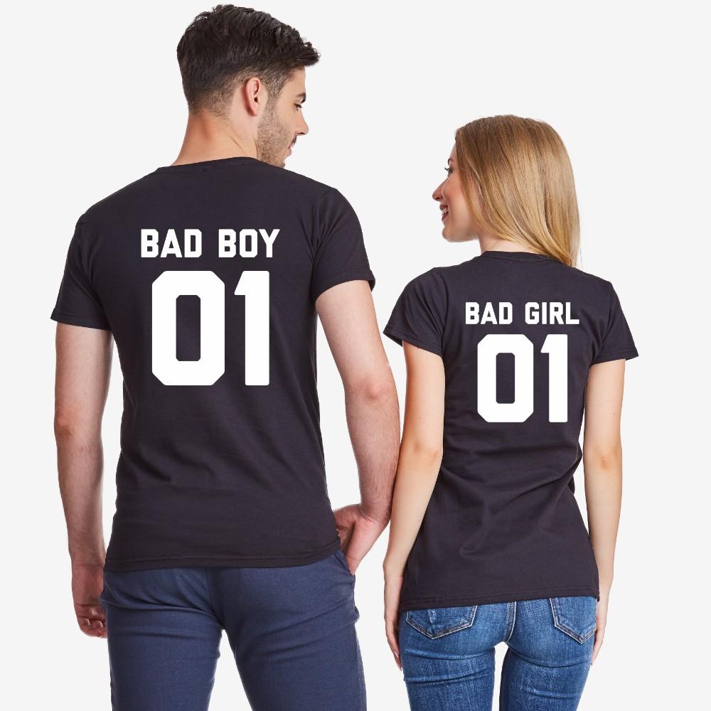 Комплект черни тениски за двойки Bad Boy and Bad girl