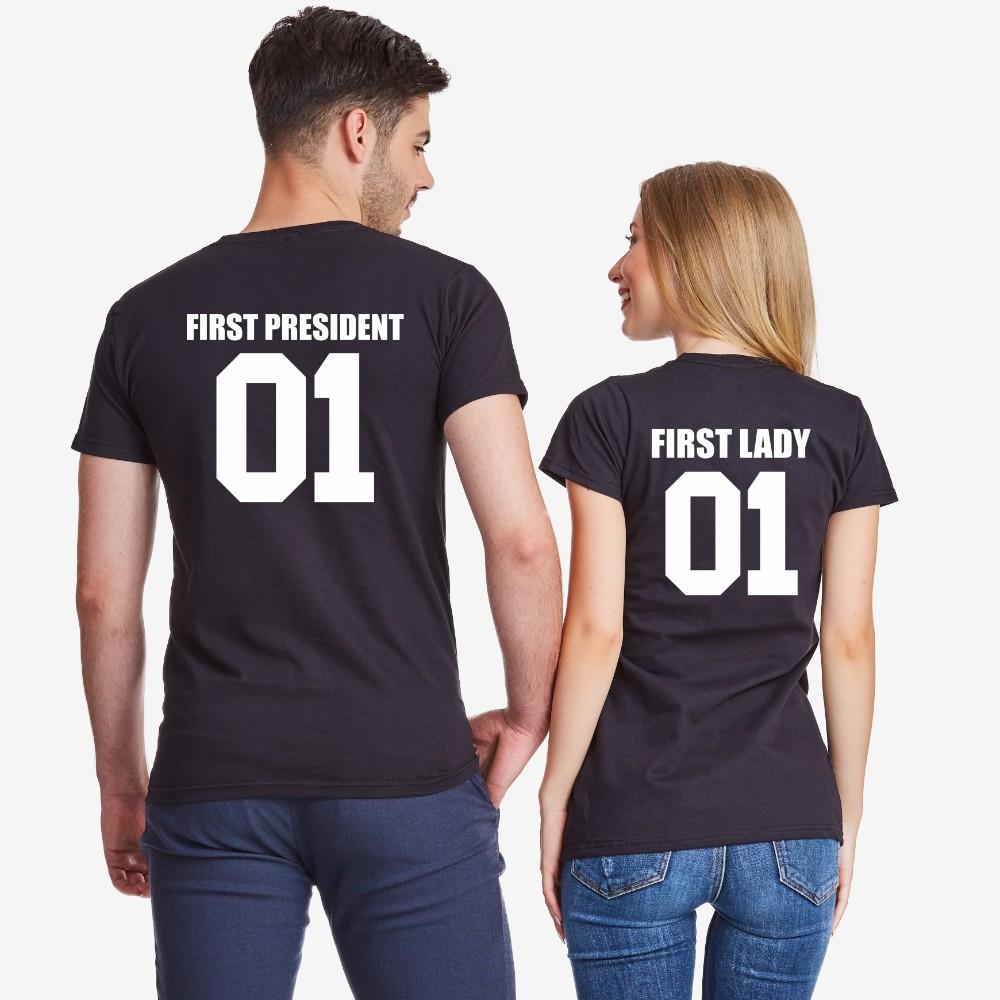 Комплект черни тениски за двойки First President and First Lady