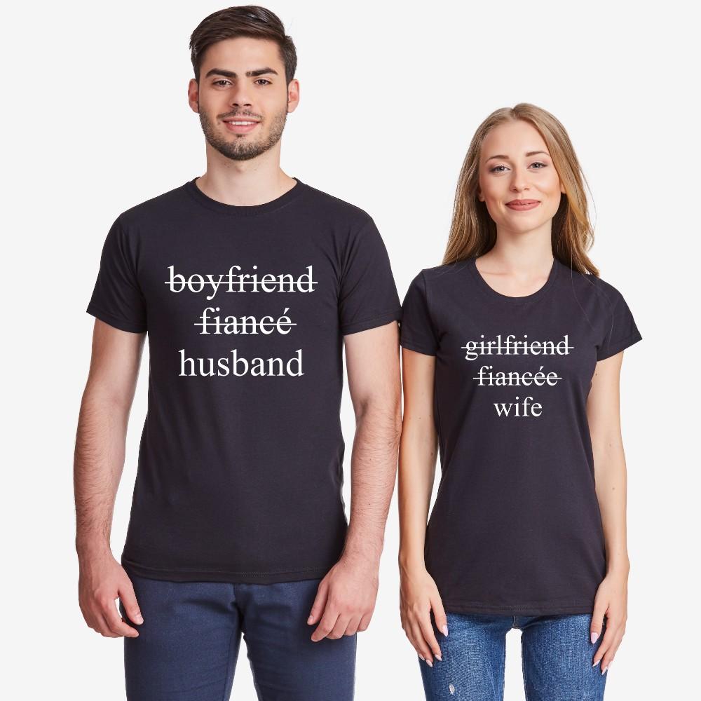 Комплект тениски за двойки в черно Boyfriend/Fiancé/Husband and Girlfriend/Fiancée/Wife