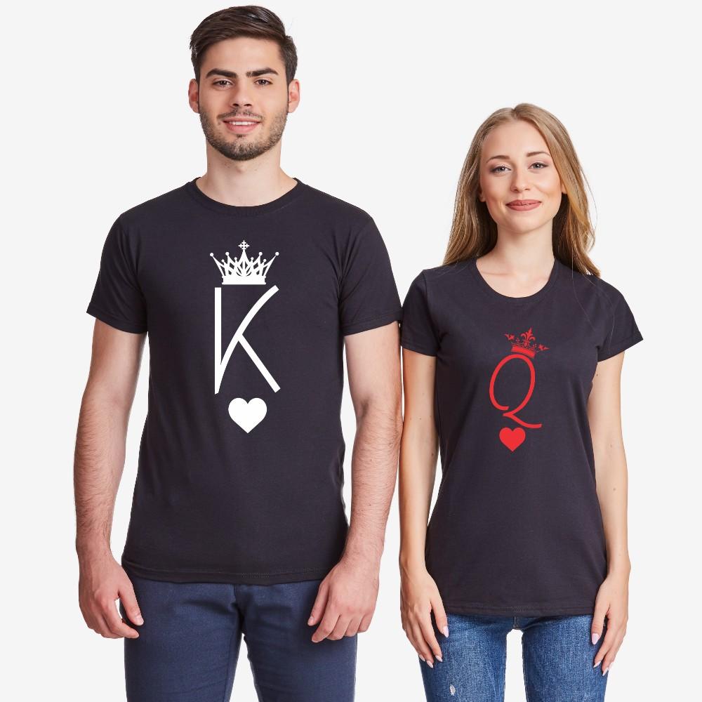 Комплект тениски за двойки в черно King and Queen Symbols