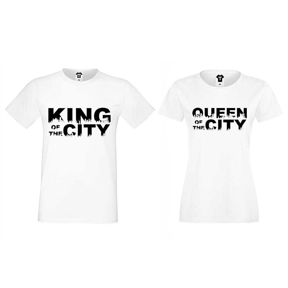 Тениски за двойки бели King Queen of the city