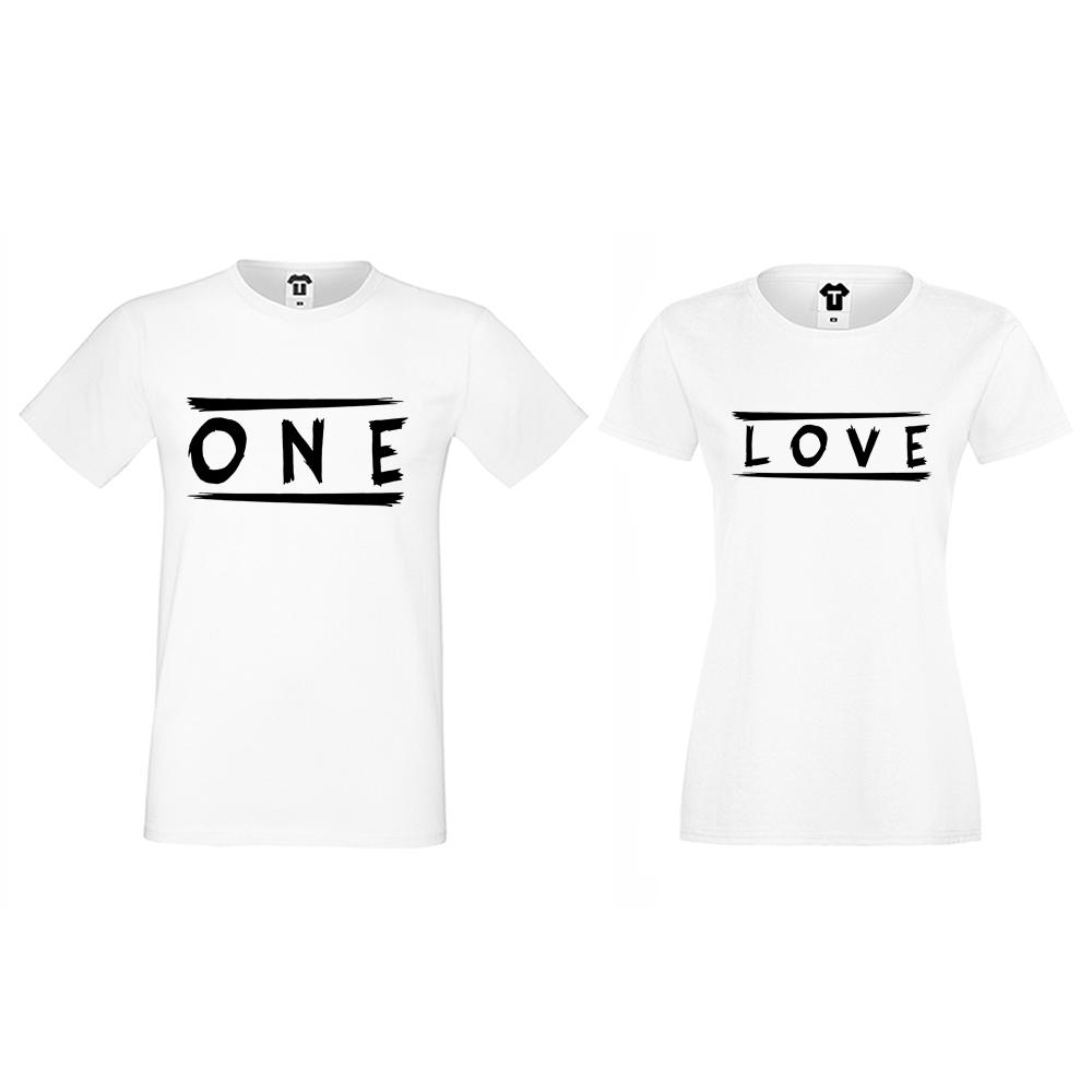 Тениски за двойки бели One Love