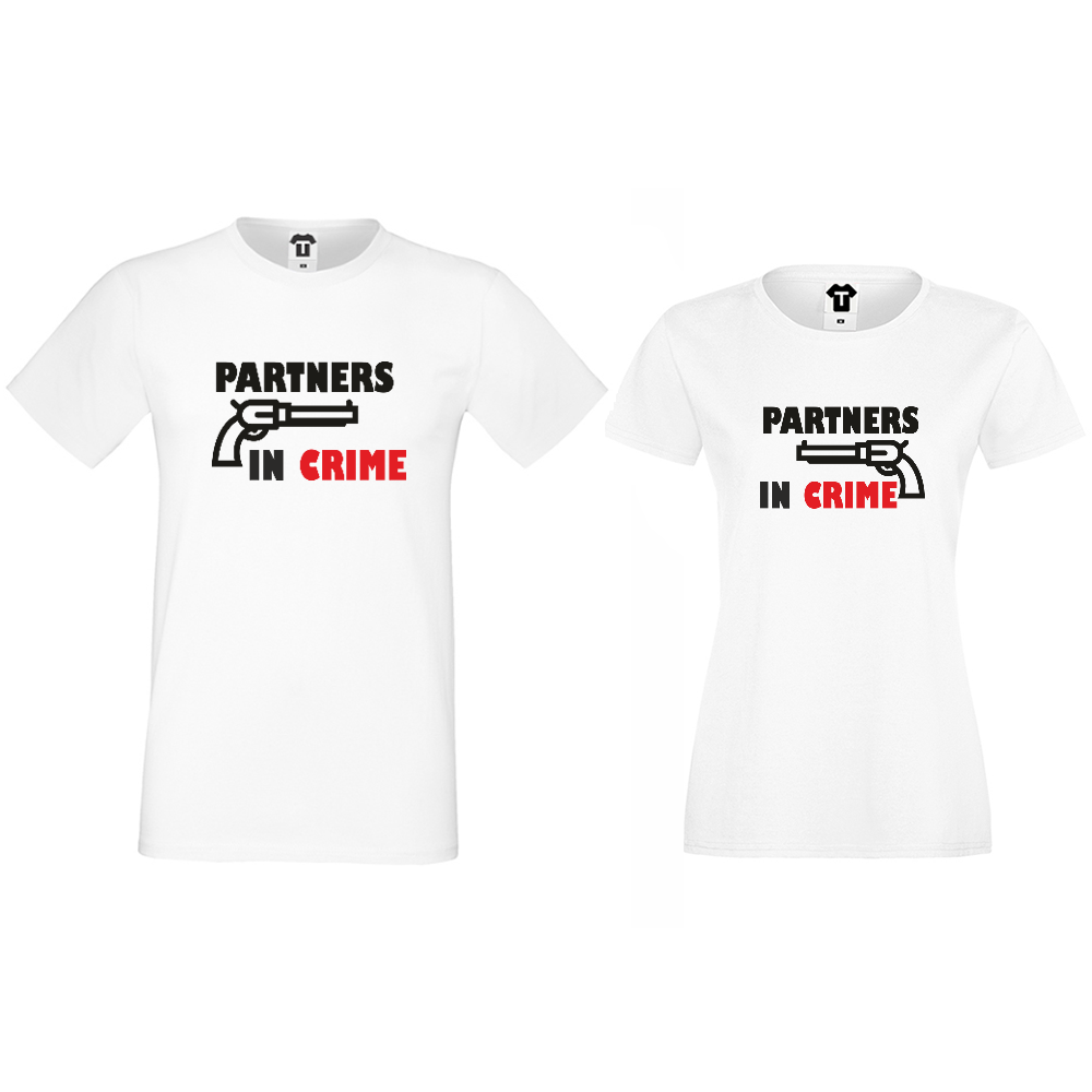 Тениски за двойки бели Partners in Crime