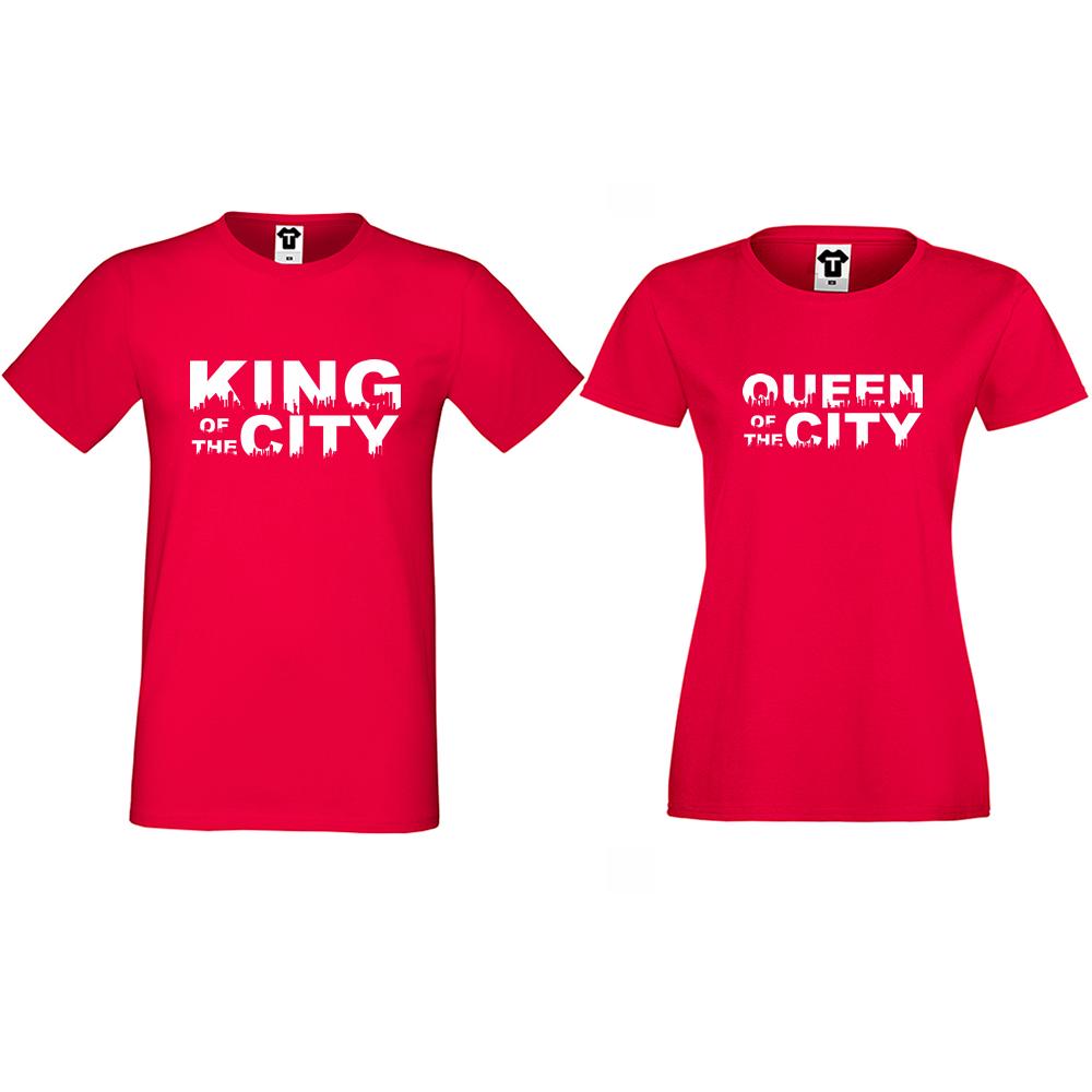 Тениски за двойки King Queen of the city в червено