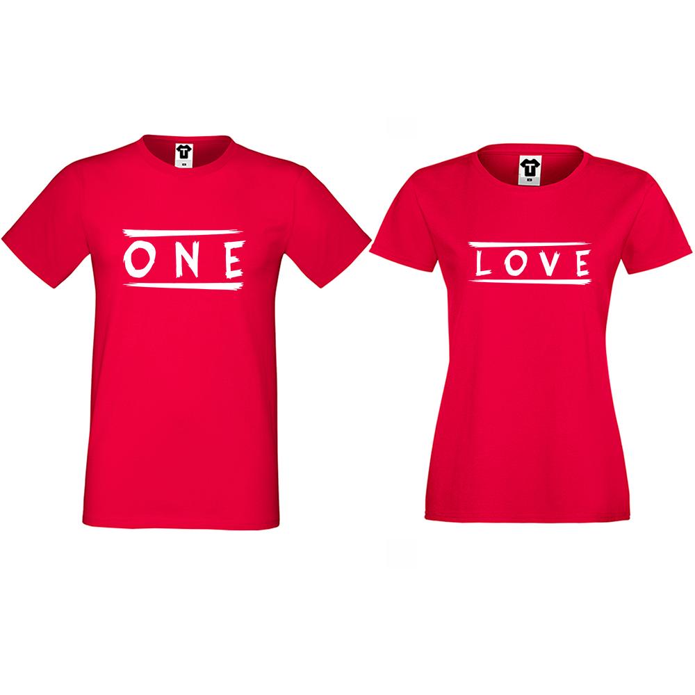 Тениски за двойки One Love в червено