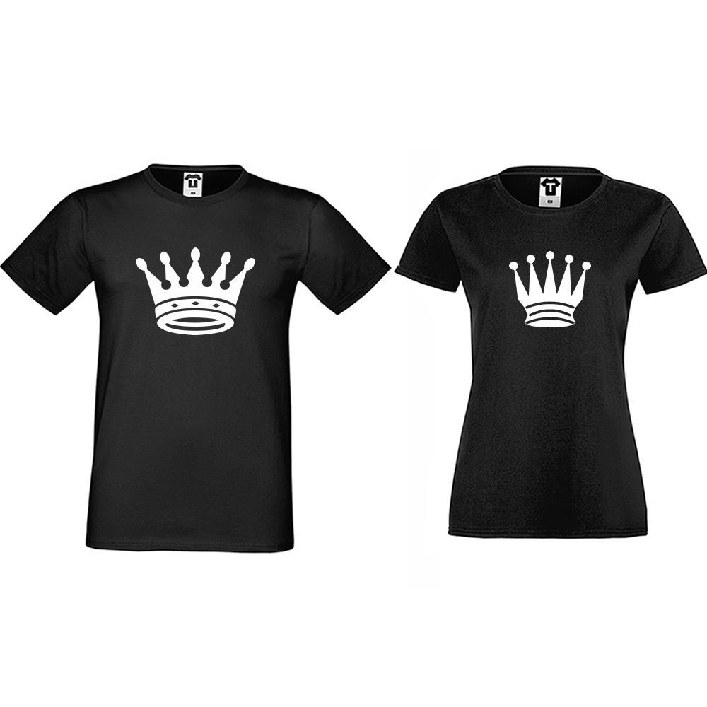 Тениски за двойки в черно Big Crowns