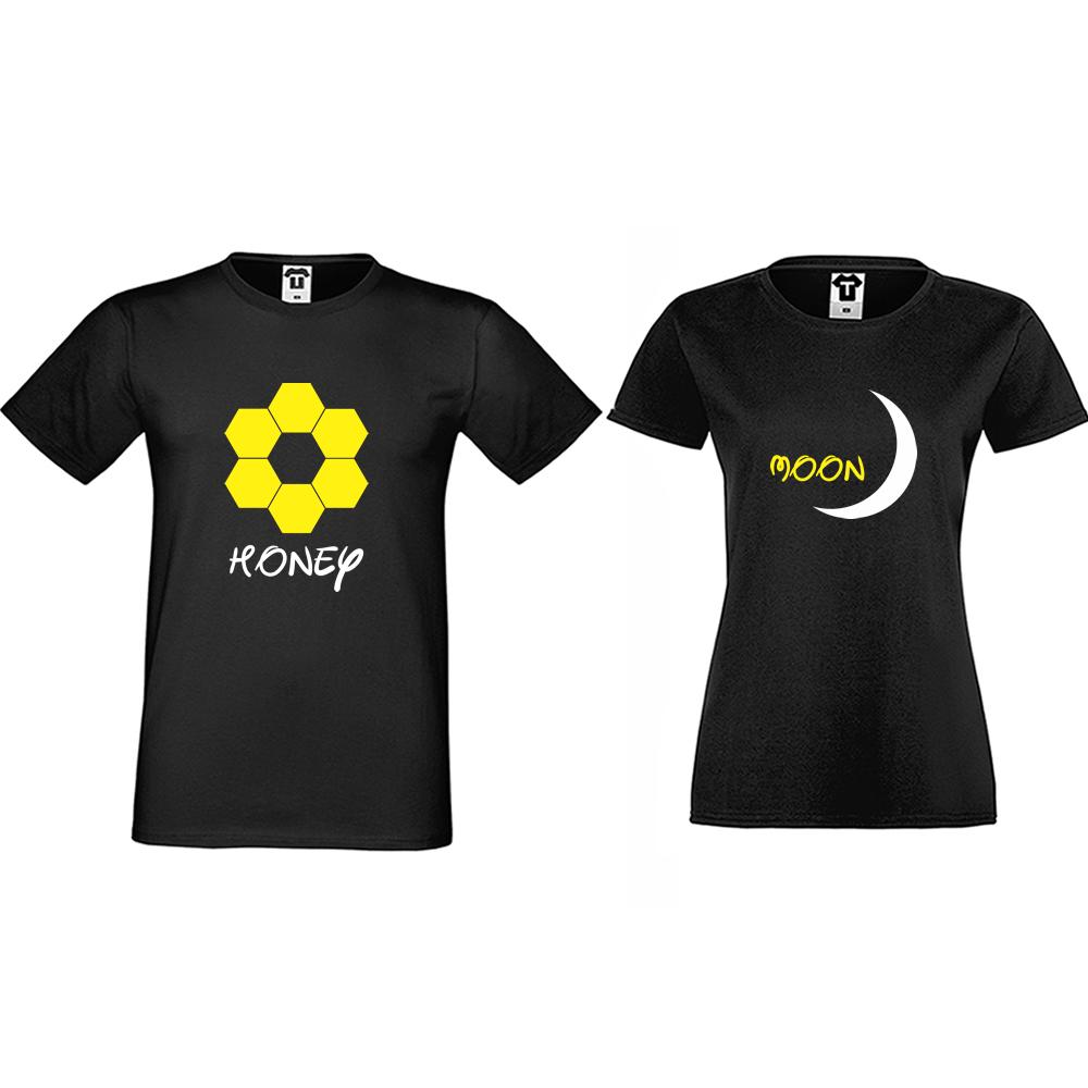 Тениски за двойки в черно Honeymoon