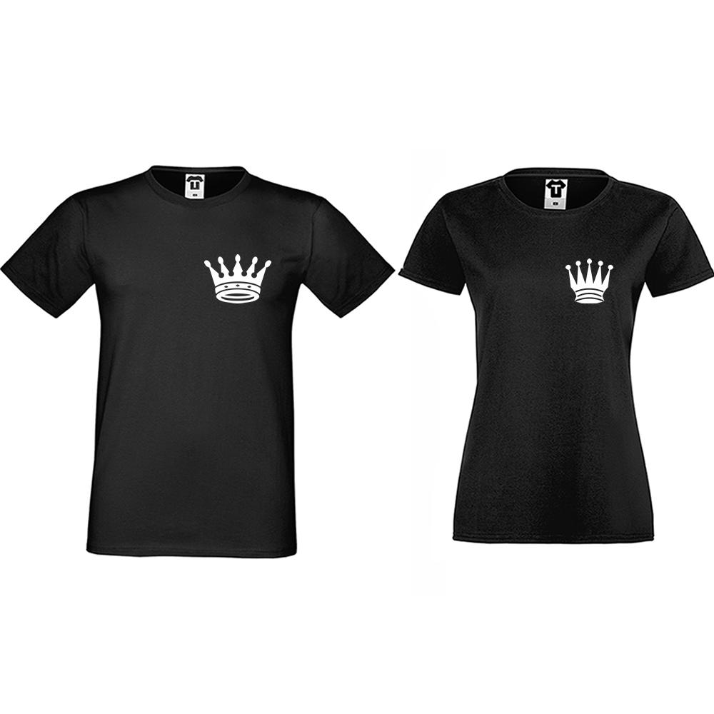 Тениски за двойки в черно Pocket Crowns