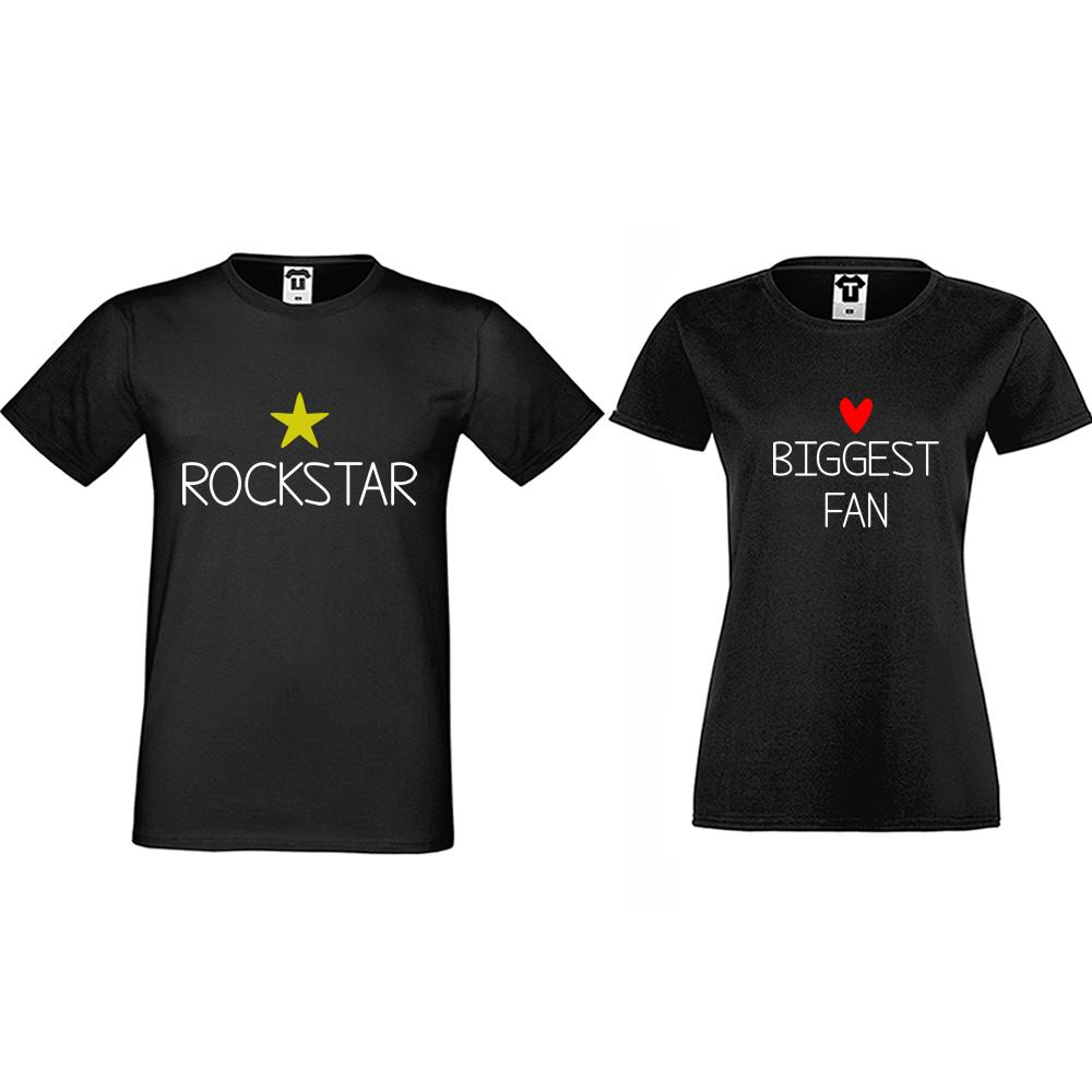 Тениски за двойки в черно Rockstar and Fan