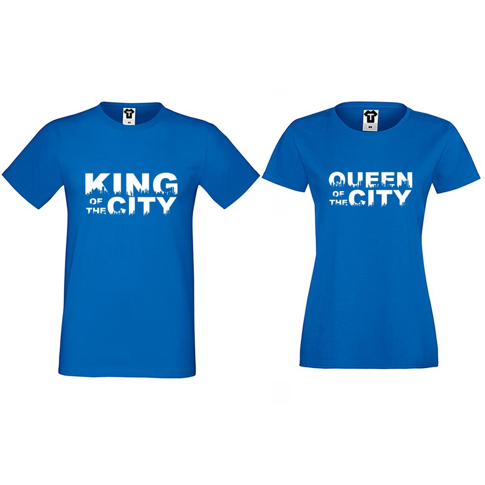 Тениски за двойки  в синьо King Queen of the city