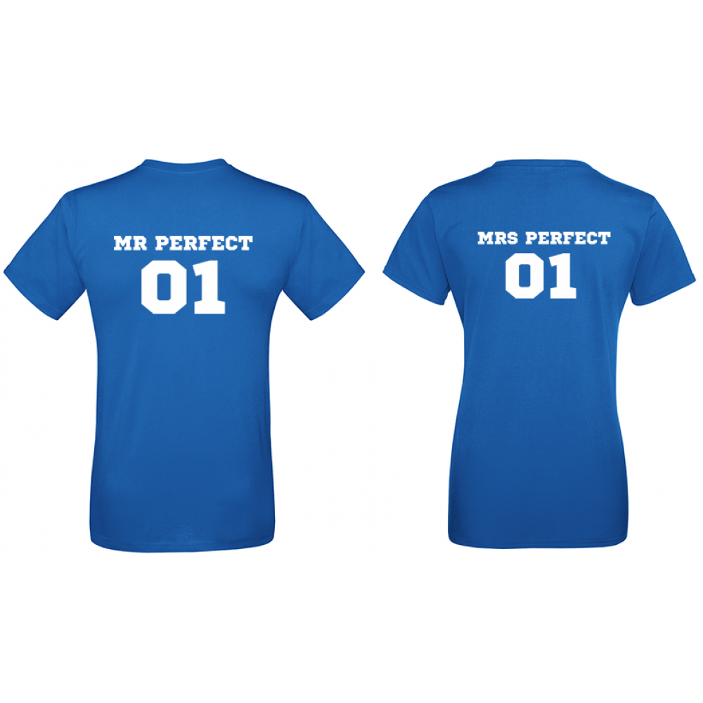 Тениски за двойки в синьо Mr Mrs Perfect