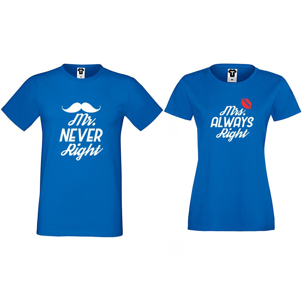 Тениски за двойки в синьо Mr Never Right and Mrs Always Right