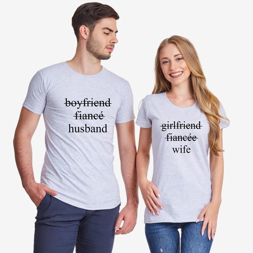 Тениски за двойки в сиво Boyfriend/Fiancé/Husband and Girlfriend/Fiancée/Wife