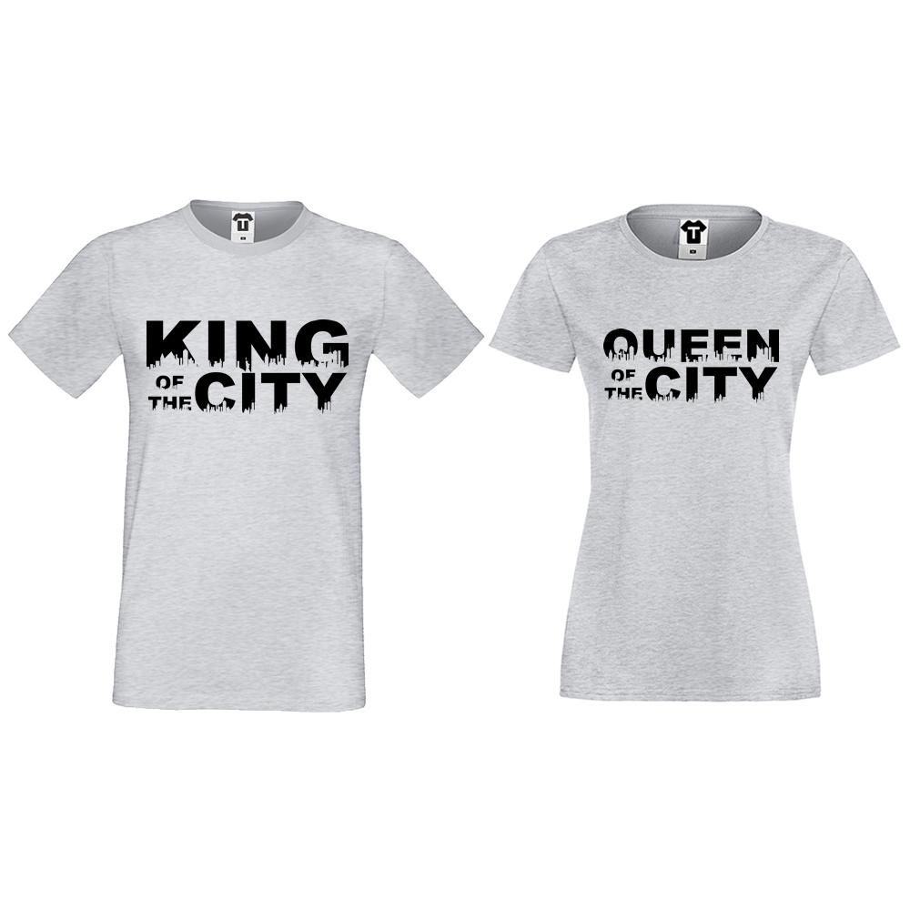 Тениски за двойки в сиво King Queen of the city