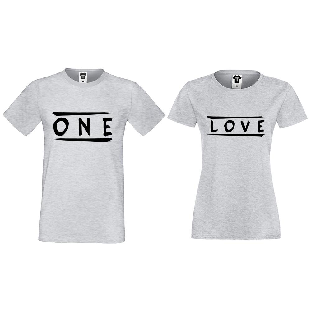 Тениски за двойки в сиво One Love