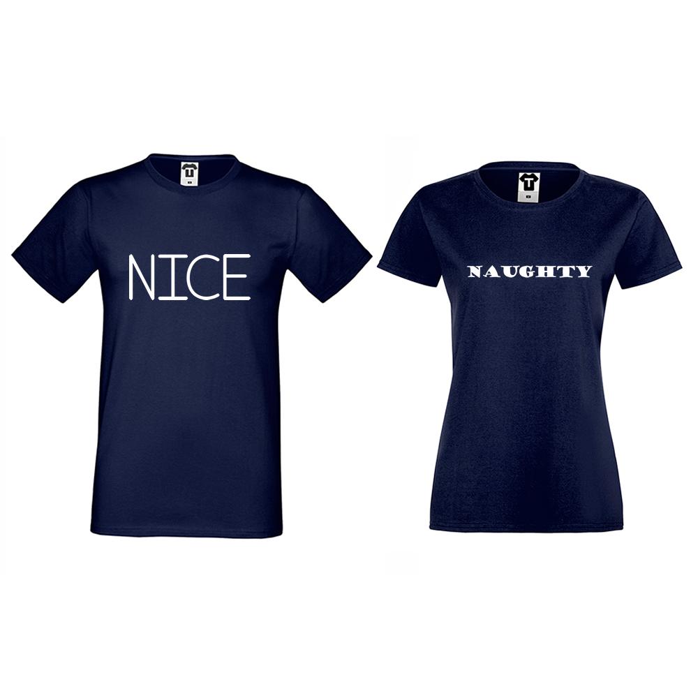 Тъмно-сини Тениски за двойки Nice Naughty