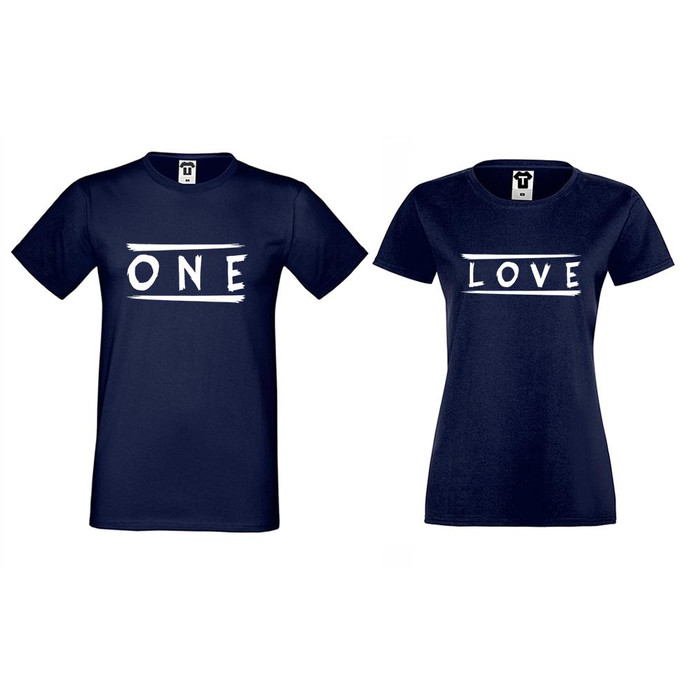 Тъмно-сини Тениски за двойки One Love